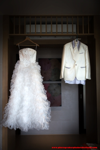 The bride and groom dress