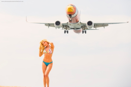 portrait photoshoot with airplane at phuket international airport