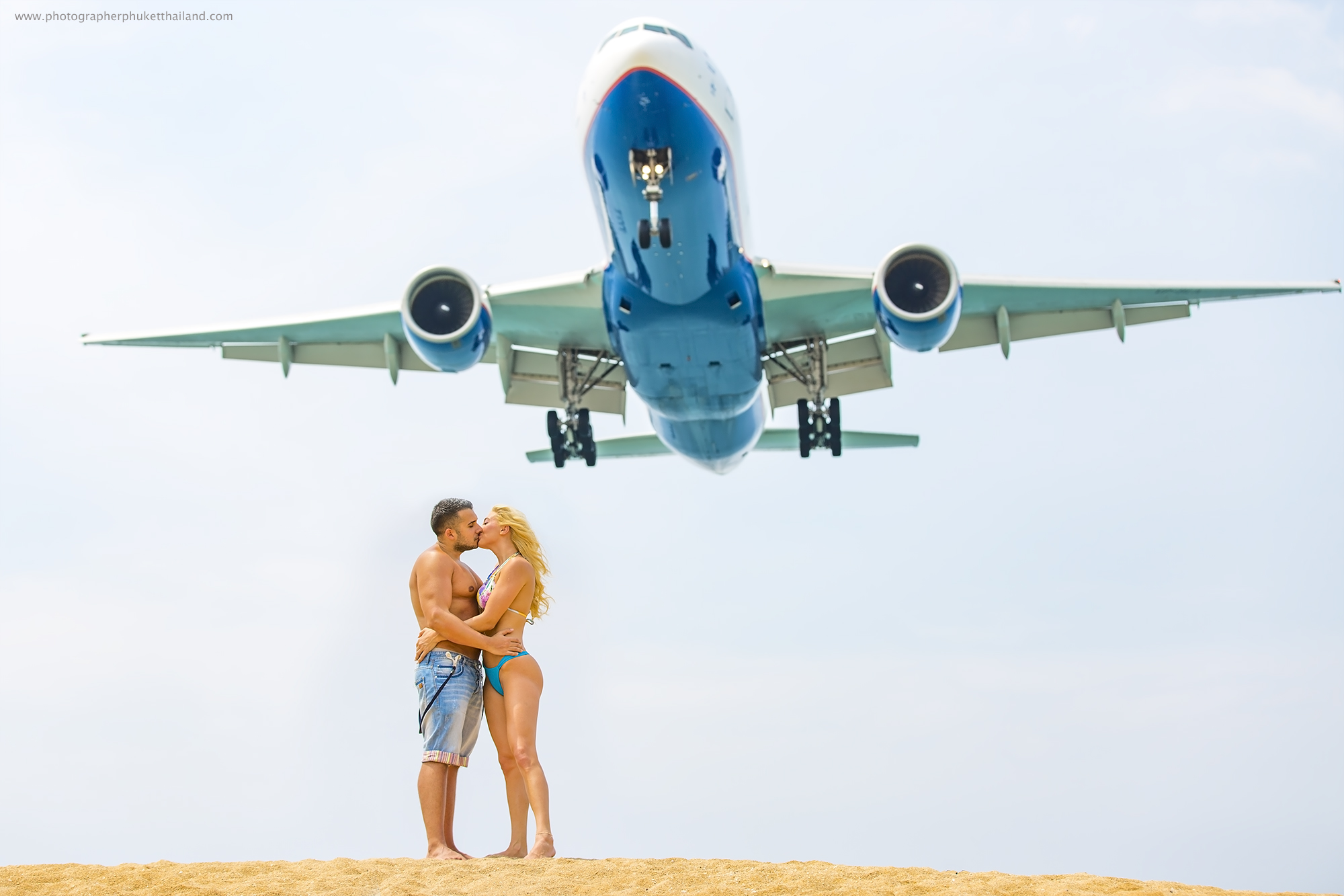 couple photoshoot with airplane at Phuket International Airport
