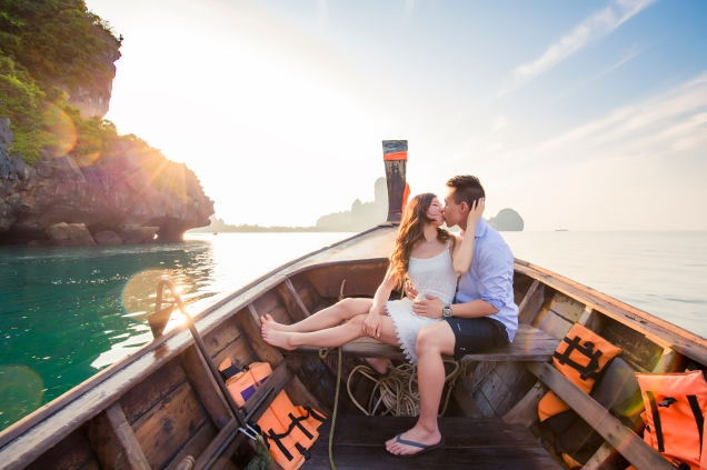 couple on long tail boat at Ao nang krabi