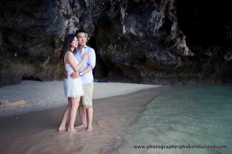 couple photoshoot at pranang cave beach krabi