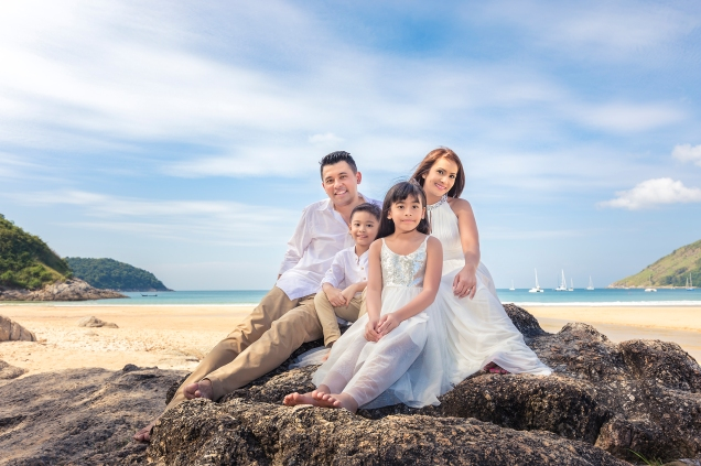 family photo shooting at naiharn beach phuket