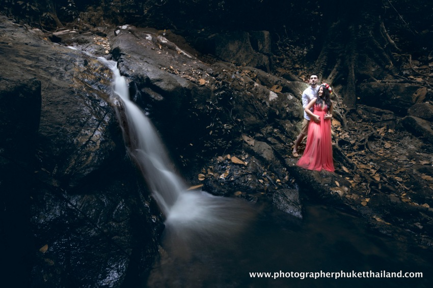 engagement photoshoot at Kathu waterfall phuket thailand