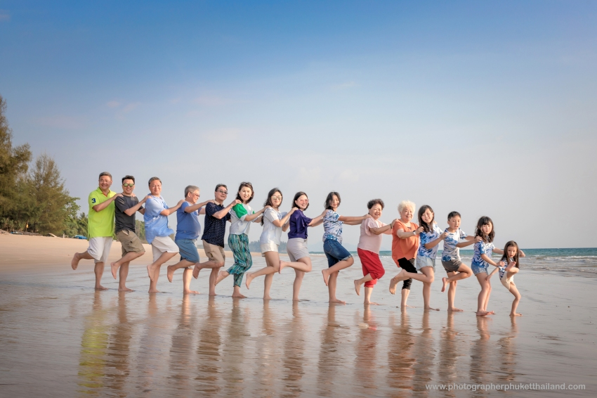 family reunion photoshoot at pi lay beach Phang nga Thailand