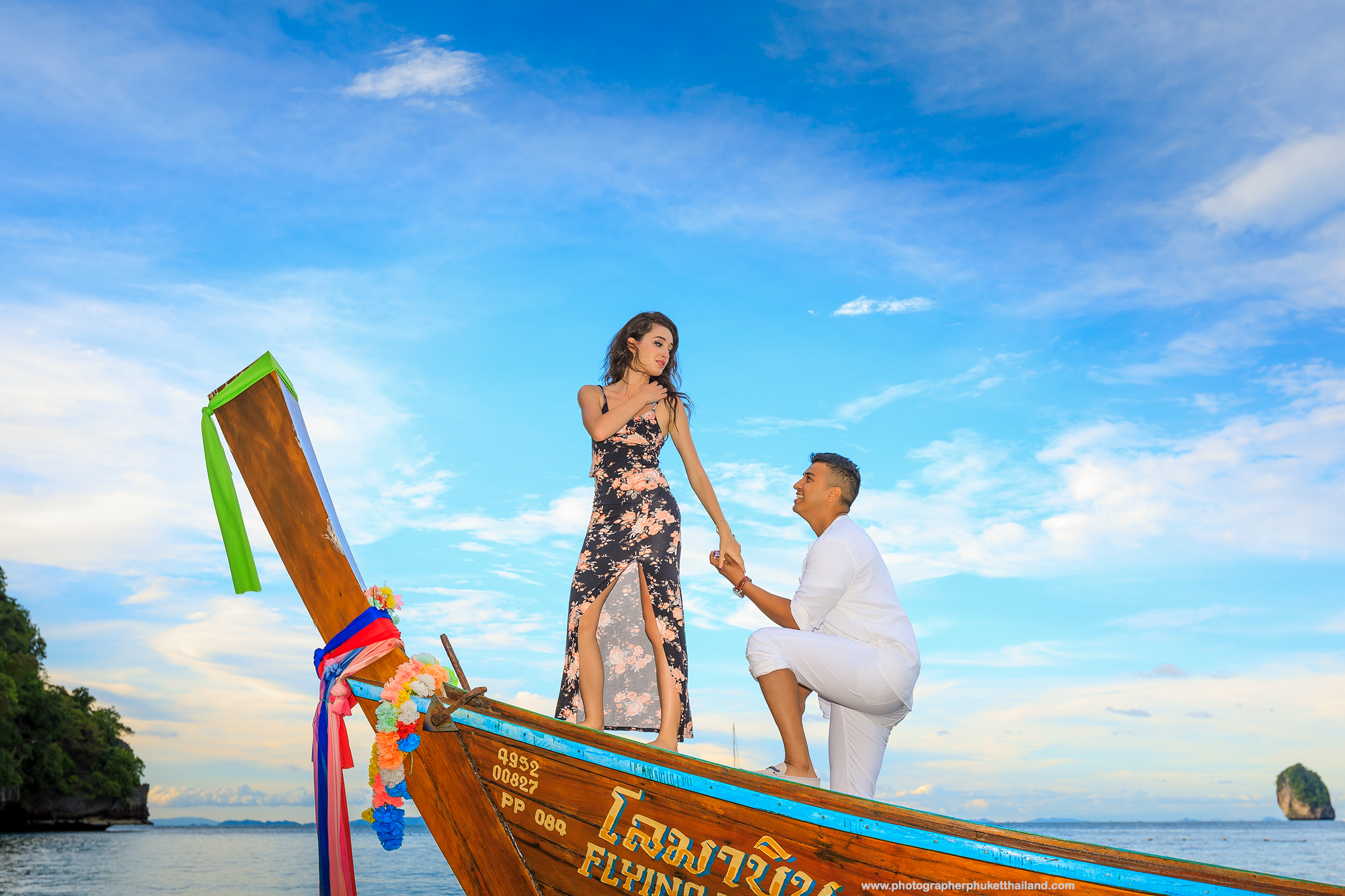 Marriage proposal at monkey beach Phi Phi island Krabi Thailand