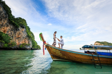 Marriage proposal at monkey beach Phi Phi island Krabi Thailand