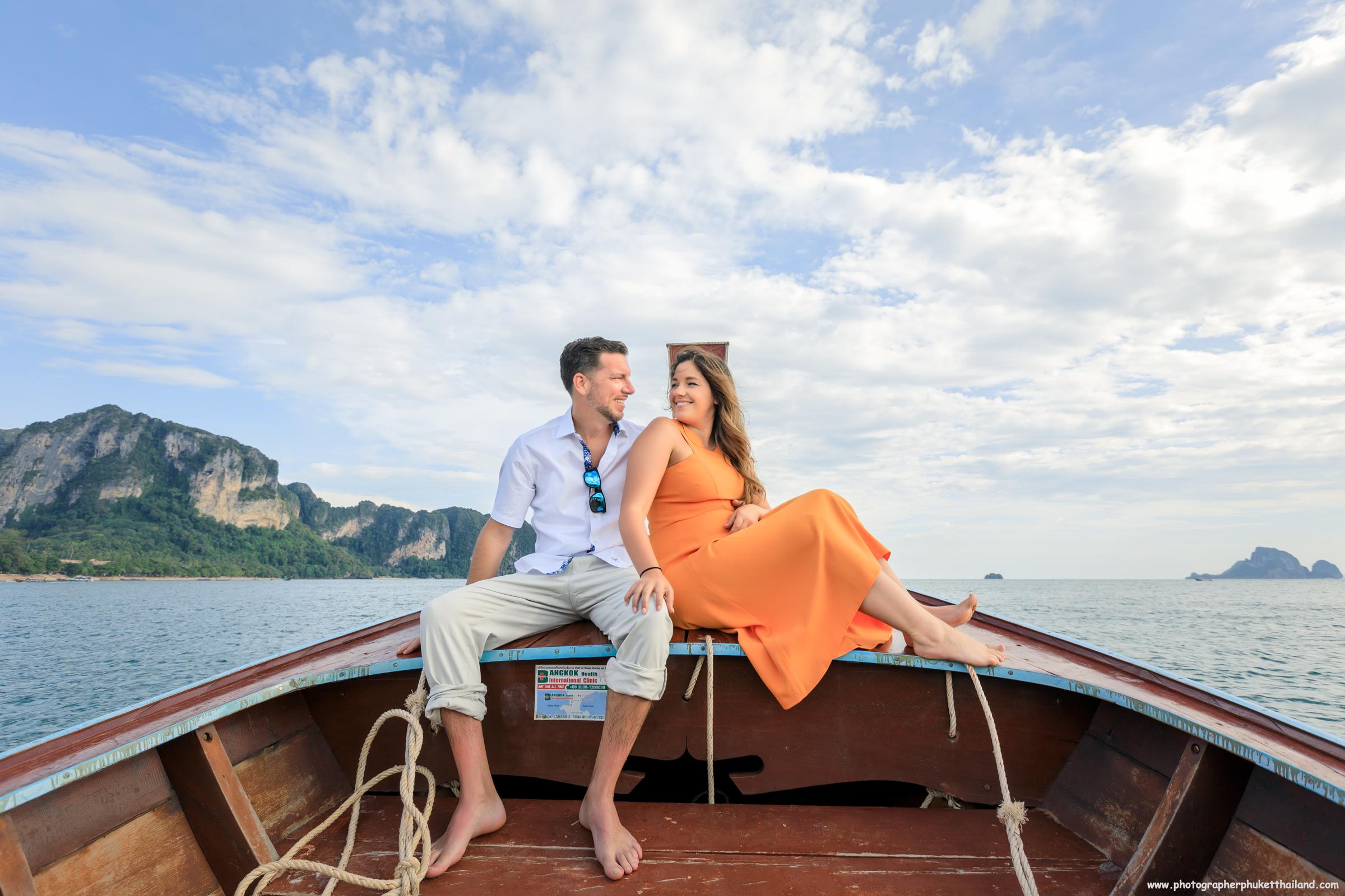 Honeymoon couple on long tail boat at Ao nang Krabi Thailand