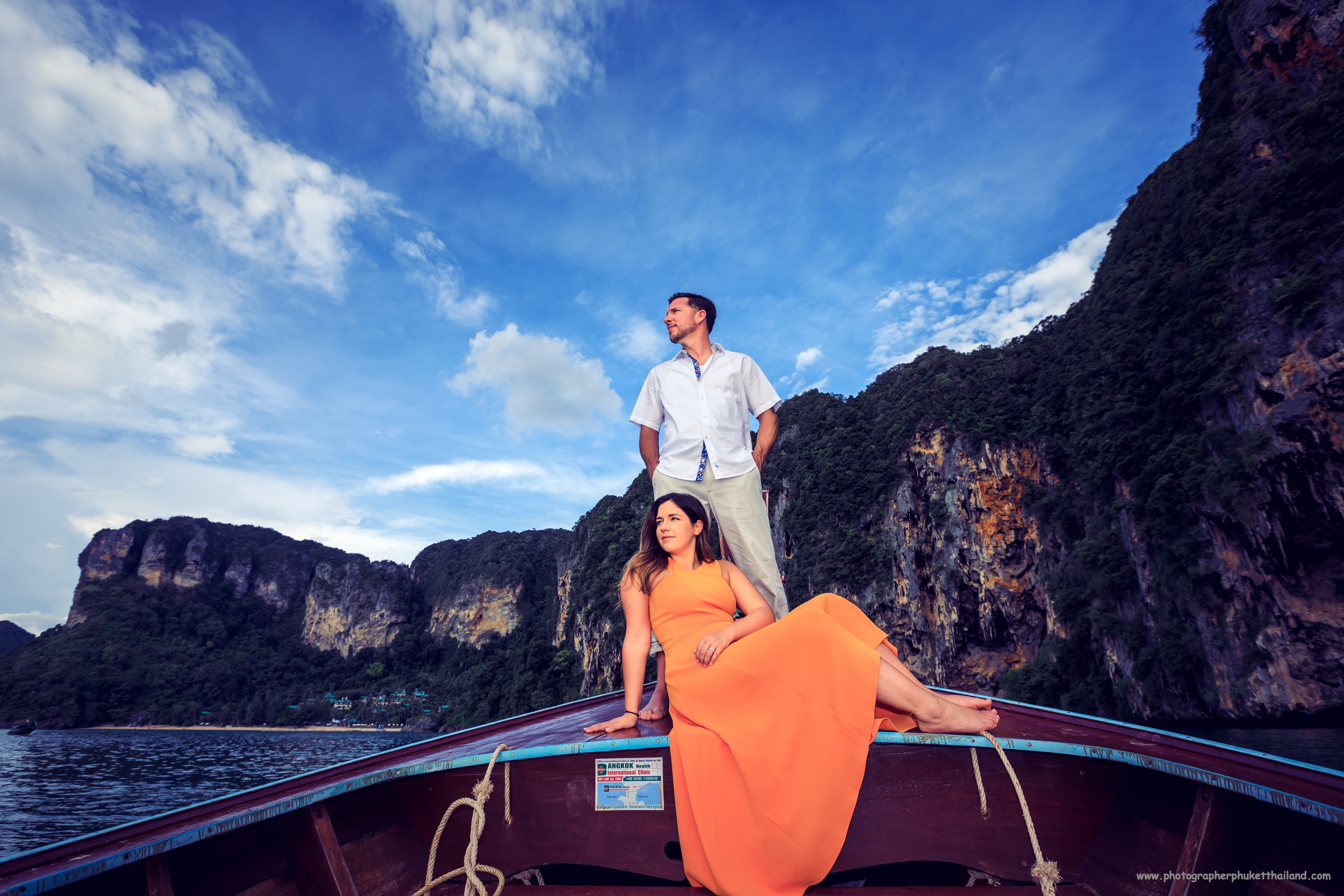 Honeymoon couple on long tail boat at Ao nang Krabi Thailand